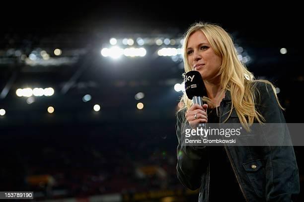 Sport HD field reporter Ruth Hofmann is seen during the Second Bundesliga match between 1 FC Koeln and Dynamo Dresden at RheinEnergieStadion on...
