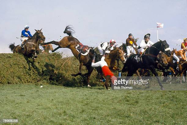 31st March 1984 1984 Grand National at Aintree 'Ashley House' and rider GBradley part company at the Chair fence