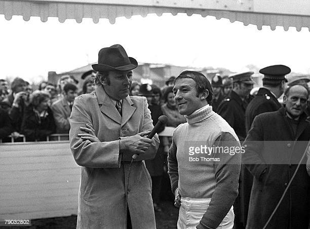 Sport Horse Racing The Grand National Aintree Liverpool England 31st March 1973 Jockey Richard Pitman is interviewed by the BBC's David Coleman after...