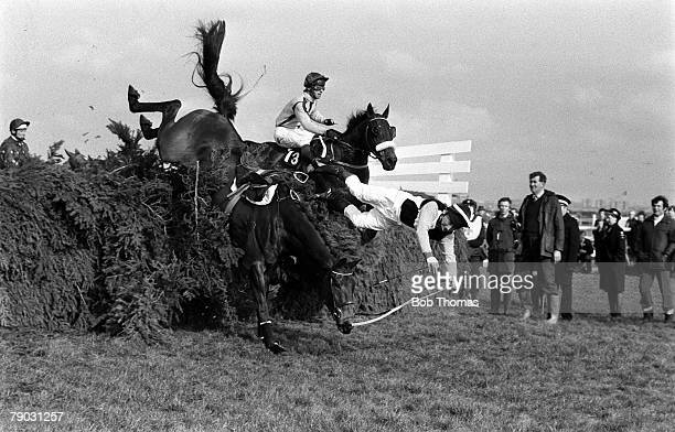 Sport Horse Racing The Grand National Meeting The Haig Fox Hunters Steeplechase Aintree Liverpool England Jockey C Kemball falls from his horse...
