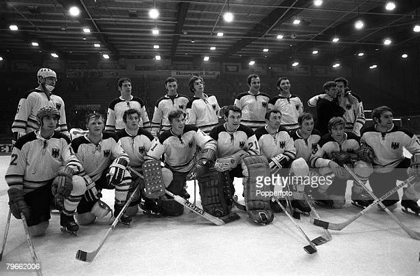 Sport Ice Hockey Geneva Switzerland 31st March 1971 World Championships The German Ice Hockey team that beat Sweden 21 to win the World Championships