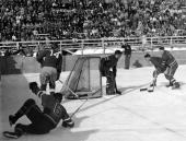 1948 1948 Olympic Games in St Moritz Switzerland Ice Hockey Switzerland 5 v USA 4 Action in the American goalmouth with USA goalminder Goodie Harding...