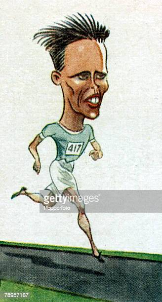 Sport Illustration Athletics Caricature pic circa 1928 Viho 'Willie' Ritola Finland the great middle distance runner who finished his Olympic Games...