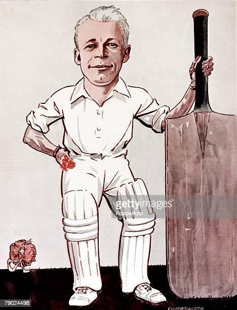 Sport Illustration Cricket Australia Drawing of the legendary Australian cricketer Donald Bradman who became the idol of the Sydney Cricket Ground...