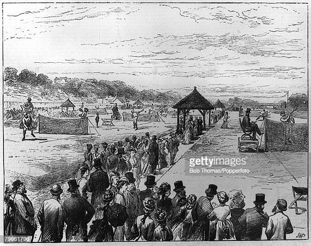 Sport Lawn Tennis All England Championships Wimbledon London England A general view of matches in progress
