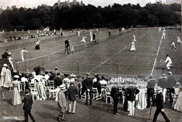 Sport Lawn Tennis Circa 1904 South of England Lawn Tennis Tournament Devonshire Park Eastbourne A general view of play in progress at Devonshire Park...