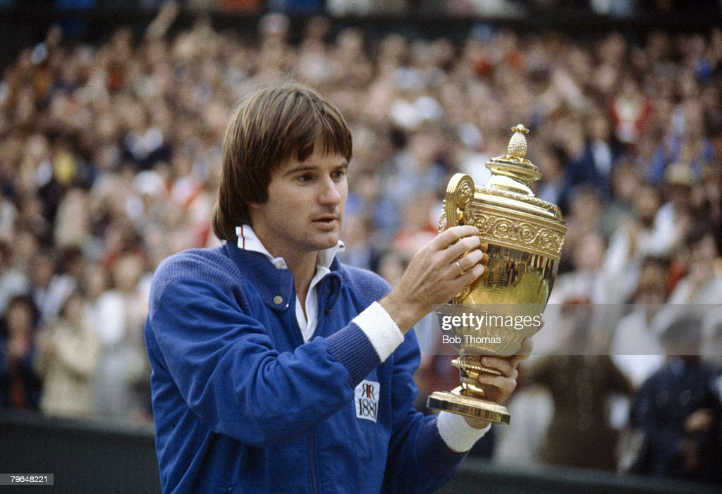 1982, Wimbledon Lawn Tennis Championships, Mens Singles Final, USA's Jimmy Connors with the Singles trophy after he had beaten John McEnroe in the final