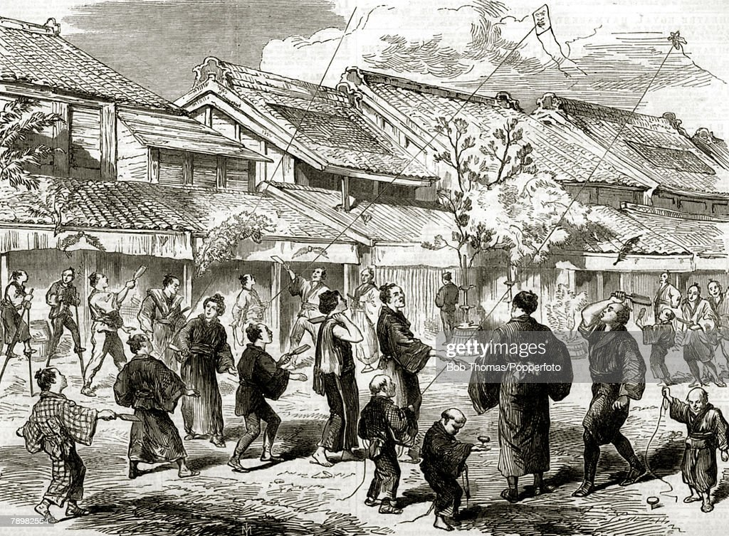circa 1865 An illustration from The Illustrated London News This illustration shows the Japanese game of Battledore and Shuttlecock played in a...