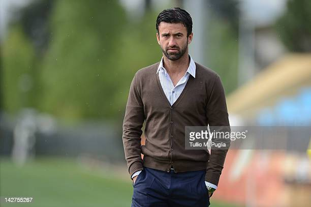 Sport Manager Christian Panucci looks on during a Palermo training session at Coverciano on April 12 2012 in Florence Italy