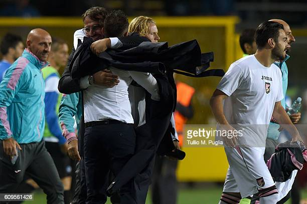 Sport Manager Daniele Faggiano and Head Coach Roberto De Zerbi of Palermo celebrate after winning the Serie A match between Atalanta BC and US Citta...