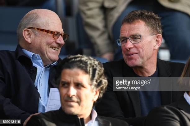 Sport manager Ralf Rangnick of RB Leipzig sits on the tribune prior the U21 International Friendly match between Germany U21 and Portugal U21 at...