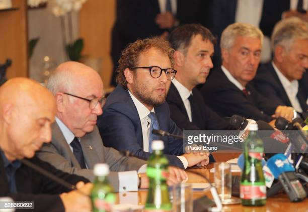 Sport Minister Luca Lotti attends the Italian football federation press conference on August 4 2017 in Rome Italy