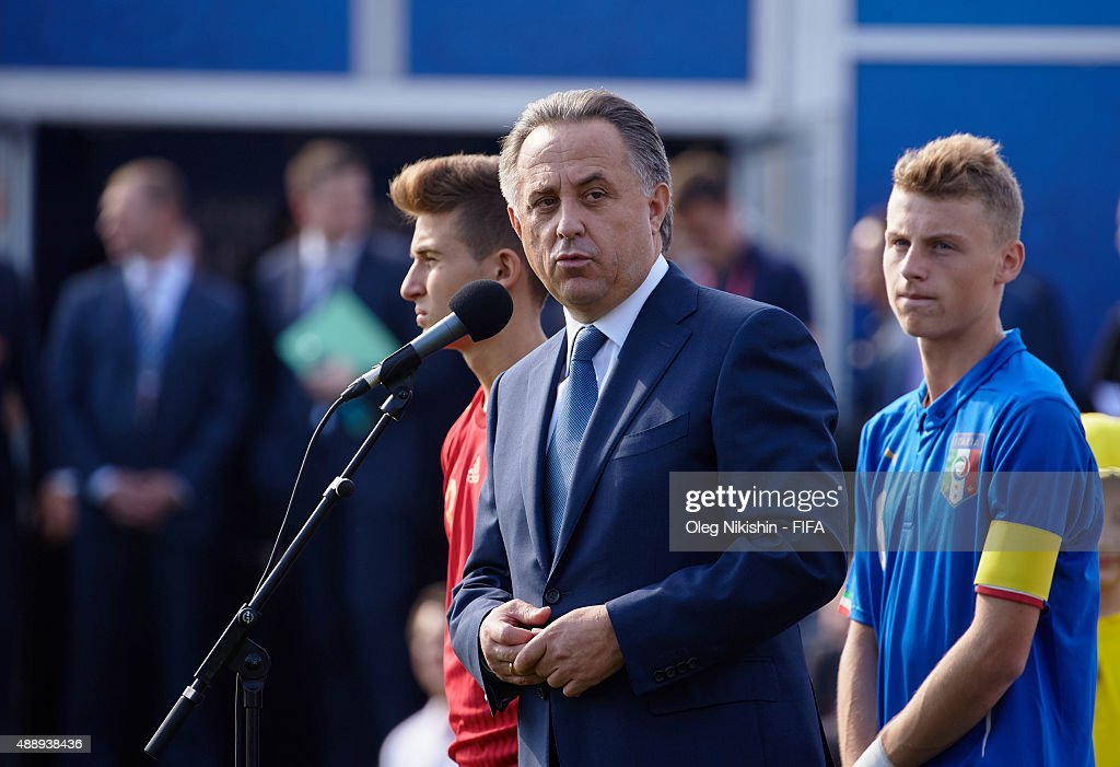 Sport Minister <a gi-track='captionPersonalityLinkClicked' href=/galleries/search?phrase=Vitaly+Mutko&family=editorial&specificpeople=687552 ng-click='$event.stopPropagation()'>Vitaly Mutko</a> speaks during opening Ceremony of the U16 Young Tournament during FIFA '1000 Days to Go' - Russia 2018 at the Red Square on September 18, 2015 in Moscow, Russia.