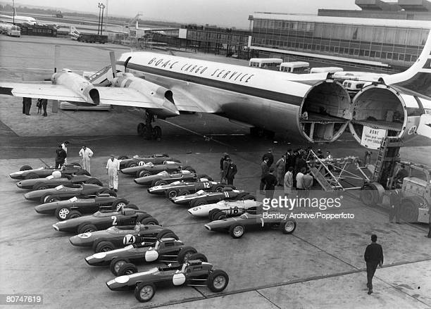 September 1963 London Airport Nineteen racing cars await loading at the airport on to a cargo plane to take them to America to compete in the Watkins...