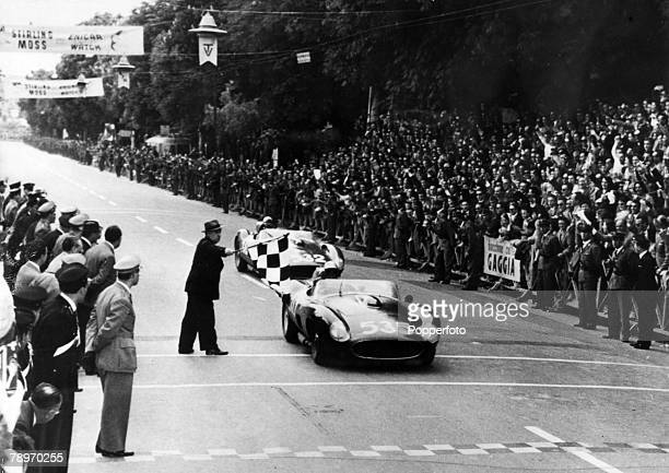 Sport Motor Racing Italy Mille Miglia pic 14th May 1957 Brescia Italian driver Piero Taruffi in a Ferrari wins the race with Germany's Wolfgang Von...
