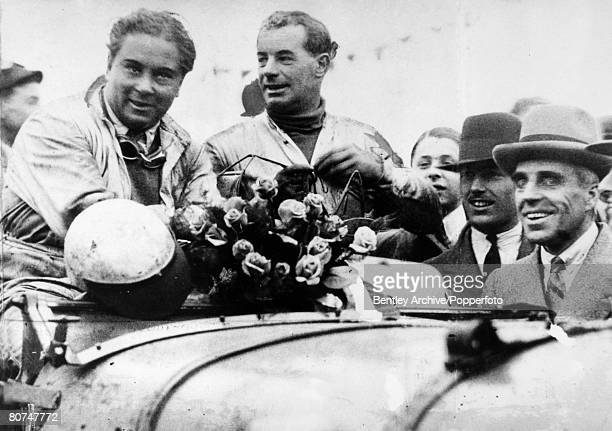 11th May 1930 Mr Woolf Barnato left and Mr FC Clement the drivers of the winning Bentley all smiles after the finish of the Double Twelve Hours race...
