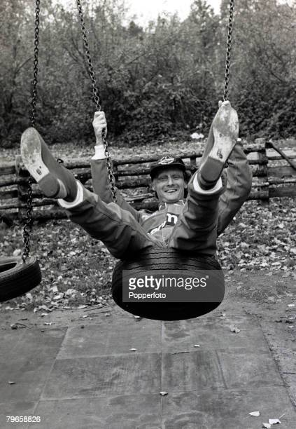 12th November 1981 Austria's former world champion Niki Lauda celebrating in London his return to motor racing after a near fatal crash at the...