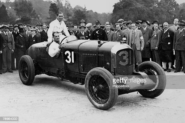 12th October 1929 FC Clement and Jack Barclay pictured in the winning Bentley at the finish of the great 500 mile race at the Brooklands track