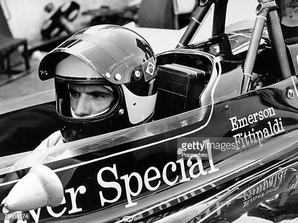 13th July 1972 Brands Hatch England British Grand Prix at Brands Hatch Emerson Fittipaldi Brazil in the John Player Special LotusFord 72 during the...