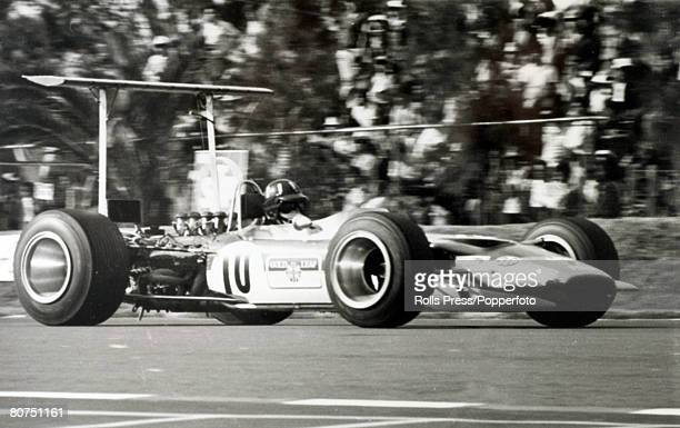 1968 Mexico Grand Prix Mexico City British driver Graham Hill in the Lotus Ford who went on to win the race and with it the world championship Graham...
