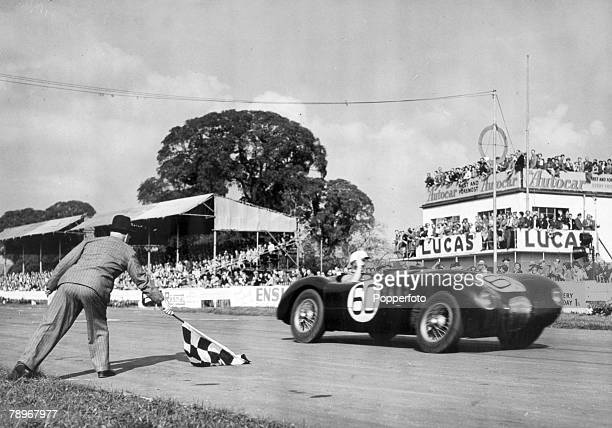30th September 1951 Goodwood England Twenty two year old British racing driver Stirling Moss born 1929 pictured winning the Sports car race in a...