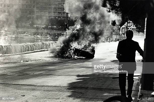 9th May 1967 Italy's Lorenzo Bandini in a Ferrari crashes after losing control at the chicane and the car becomes a fireball Lorenzo Bandini had his...