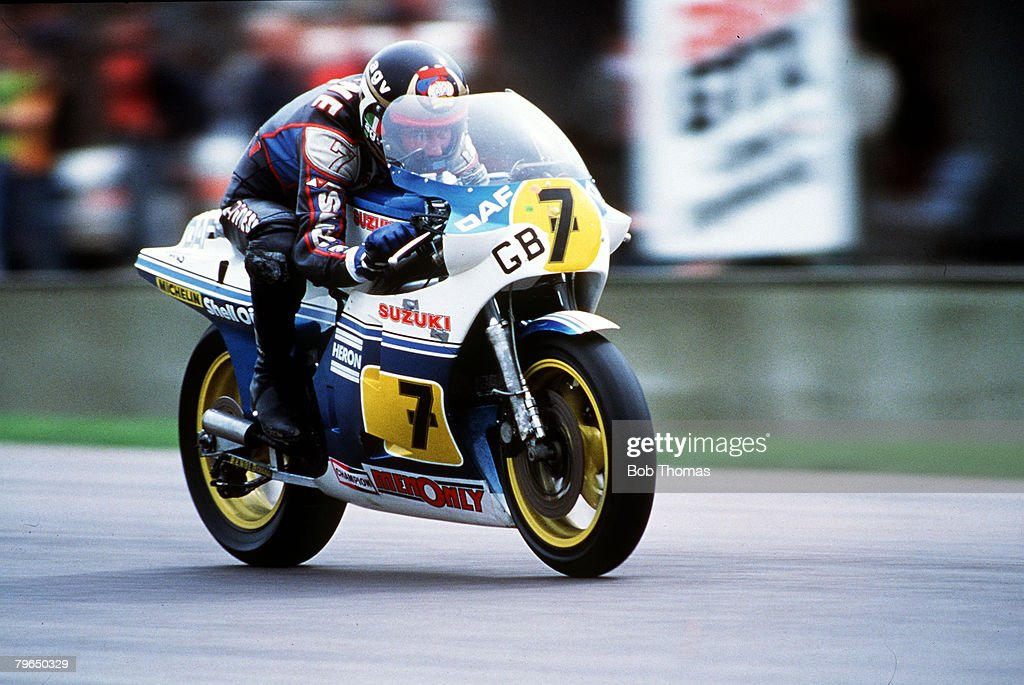 22nd April 1984, Transatlantic Challenge at Donington Park, <a gi-track='captionPersonalityLinkClicked' href=/galleries/search?phrase=Barry+Sheene&family=editorial&specificpeople=600476 ng-click='$event.stopPropagation()'>Barry Sheene</a>, (1950 - 2003), Great Britain, riding a Suzuki