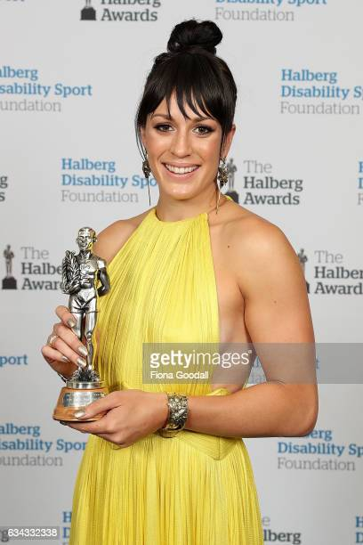 Sport New Zealand Leadership Award winner and Paralympic swimmer Sophie Pascoe at the 54th Halberg Awards at Vector Arena on February 9 2017 in...
