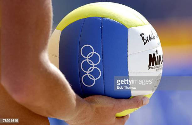 Sport Olympic Games Athens Greece 14th August 2004 Beach Volleyball Womens Pool Match Cook and Sanderson of Australia v Yanchulova and Yanchulova of...