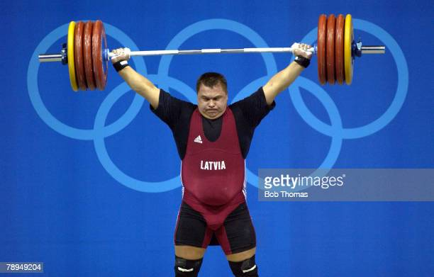 Sport Olympic Games Athens Greece 25th August 2004 Weightlifting Mens 105 Kg Plus Viktors Scerbatihs of Latvia