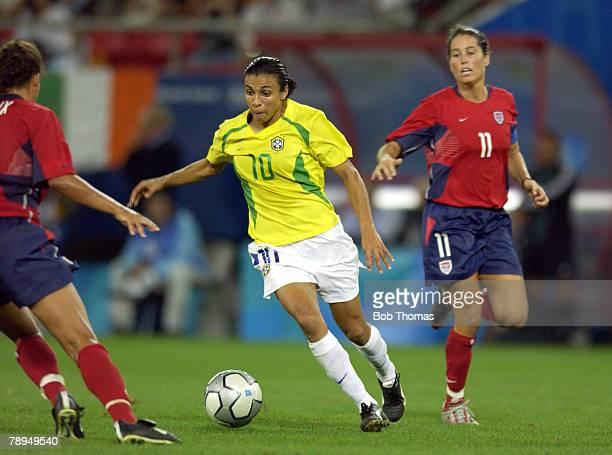 Sport Olympic Games Athens Greece 26th August 2004 Womens Football Final USA 2 v Brazil 1 Marta of Brazil