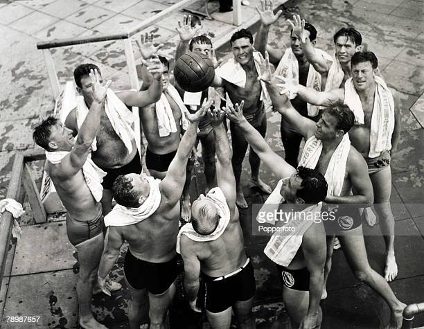 Sport Olympic Games London England August 1948 Members of the American Water Polo team training at Uxbridge Middlesex