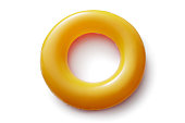 Sport: Orange Inflatable Ring Isolated on White Background