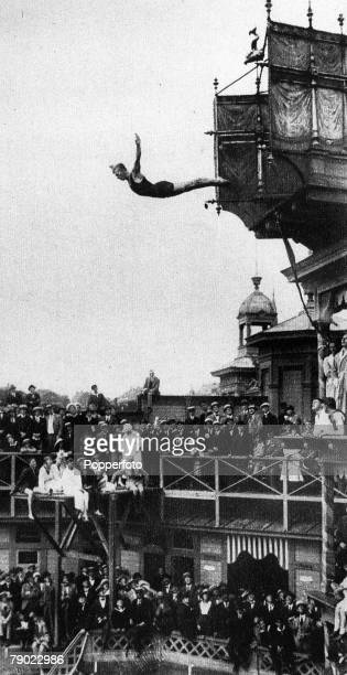 Sport Platform Diving 1920 Olympic Games Antwerp Belgium Sweden's Erik Adlerz the Silver medal winner at Antwerp and champion from 1912 Stockholm...