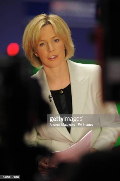BBC Sport presenter Hazel Irvine does a live piece to camera
