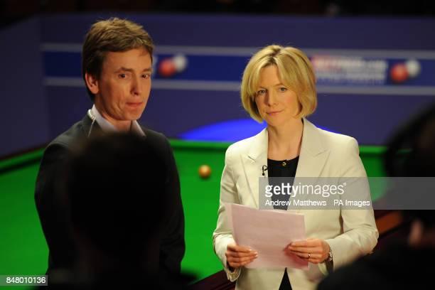 BBC Sport presenter Hazel Irvine does a live piece to camera with Ken Doherty