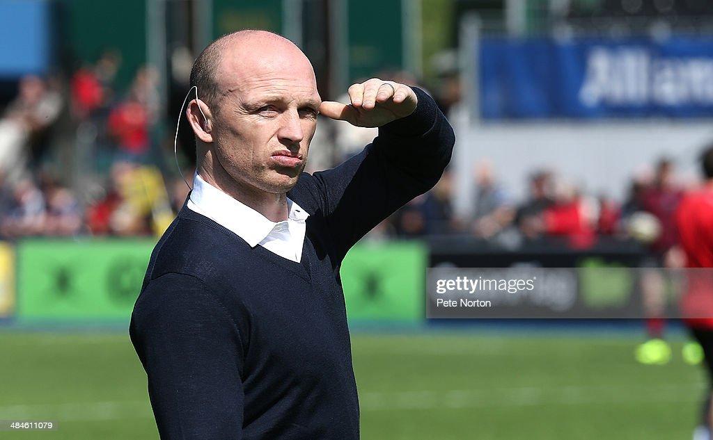 Sport presenter Matt Dawson looks on prior to the Aviva Premiership match between Saracens and Northampton Saints at Allianz Park on April 13 2014 in...
