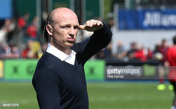 Sport presenter Matt Dawson looks on prior to the Aviva Premiership match between Saracens and Northampton Saints at Allianz Park on April 13 2014 in...