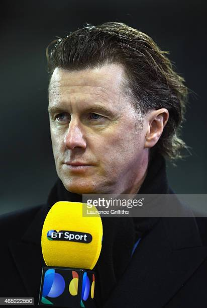 Sport presenter Steve Mcmanaman looks on prior to the Barclays Premier League match between Newcastle United and Manchester United at St James' Park...