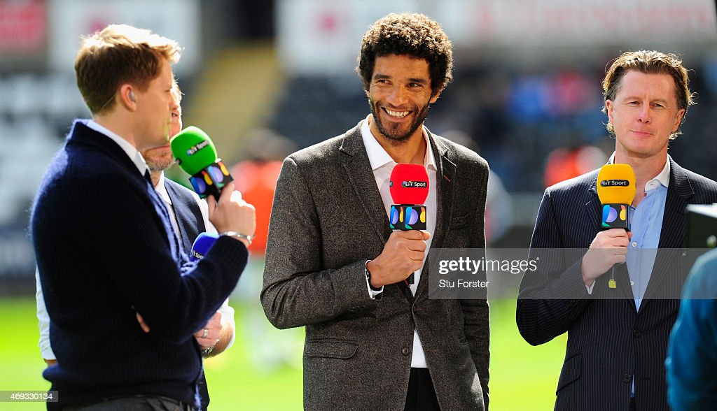 Sport pundits David James and Steve McManaman give their views before the Barclays Premier League match between Swansea City and Everton at Liberty...