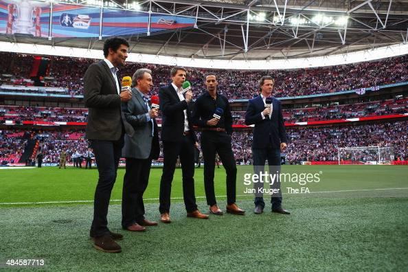 BT Sport pundits David James Neil Warnock Jake Humphrey Rio Ferdinand and Steve McManaman present the FA Cup SemiFinal match between Hull City and...