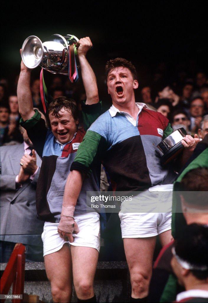 Sport Rugby Union John Player Special Cup Final Twickenham England 30th April 1988 Bristol 22 v Harlequins 28 Harlequin's Micky Skinner gets familiar...
