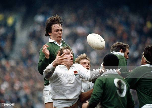 15th March 1986 5 Nations Championship at Twickenham England 25 v Ireland 20 England's Dean Richards gets to the ball ahead of Ireland's Brian...