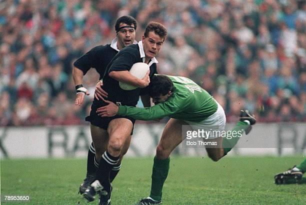 18th November 1989 International Match in Dublin Ireland 6 v New Zealand 23 New Zealand's Craig Innes is tackled by Ireland's Philip Rainey