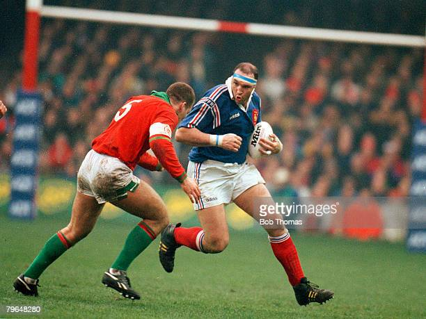 19th February 1994 5 Nations Championship Wales 24 v France 15 France captain Olivier Merle under pressure from Wales captain Gareth Llewellyn