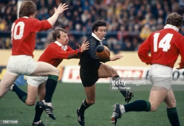 2nd July 1983 1983 British Lions Tour of New Zealand 3rd Test Match in Dunedin New Zealand 15 v British Lions 8 All Black's Wayne Smith battles...
