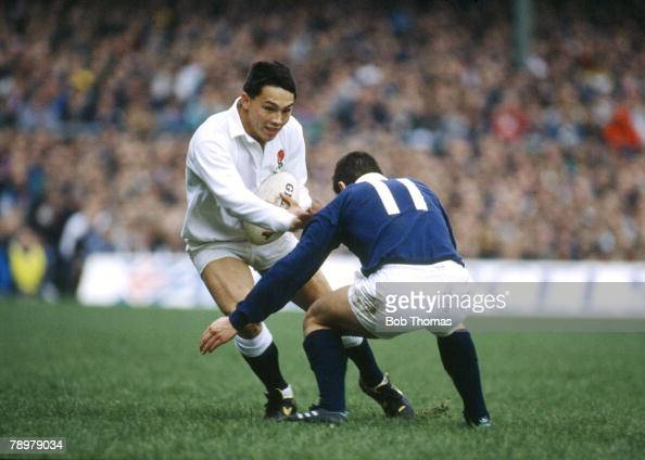 4th February 1989 5 Nations Championship at Twickenham England 12 v Scotland 12 England wing Rory Underwood is challenged by Scotland's Iwan Tukalo...