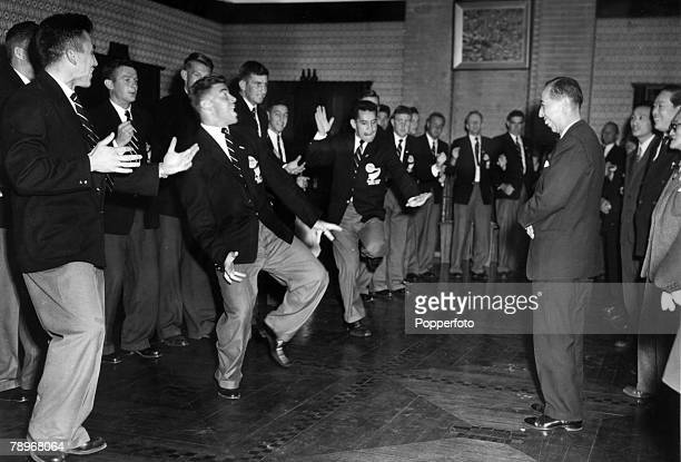 February 1958 Japan The New Zealand 'All Blacks' Rugby Union team do a version of the 'Haka' at the official residence of Japanese Premier Nobusuke...
