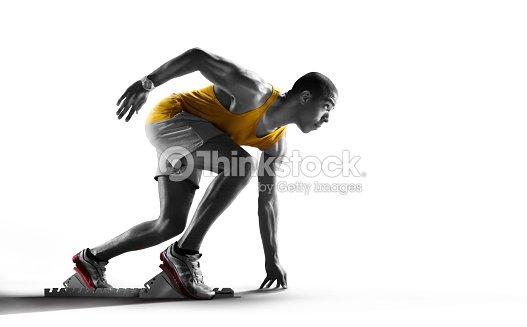 Sport. Runner on the start. Isolated
