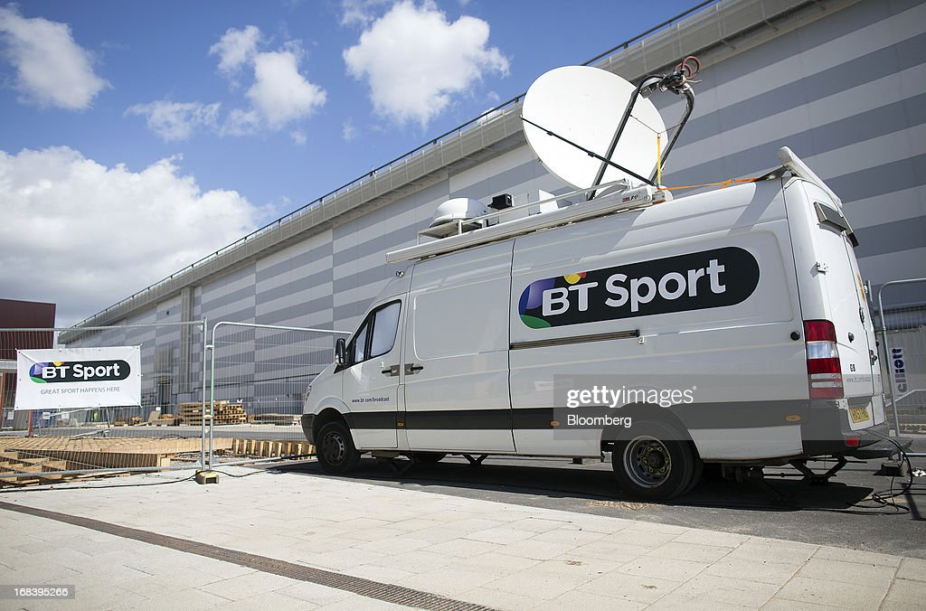 Sport satellite transmission truck sits outside the company's offices at the former London 2012 Olympic Broadcast Center in London, U.K., on Thursday, May 9, 2013. British Sky Broadcasting Group Plc, the U.K.'s largest pay-TV broadcaster, fell the most in almost a year after BT Group Plc unveiled sports channels to compete with the Rupert Murdoch-controlled satellite operator. Photographer: Simon Dawson/Bloomberg via Getty Images